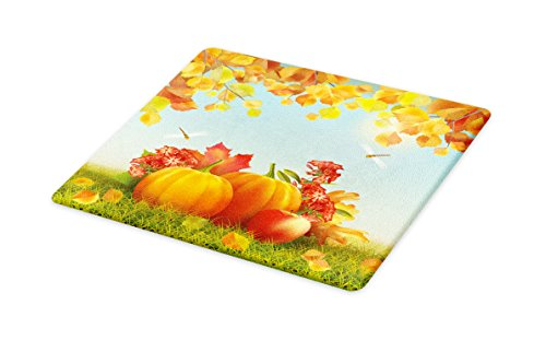Lunarable Pumpkin Cutting Board, Flora Fauna in Unity Fruits of The Fall Season Dragonflies Harmonious Nature, Decorative Tempered Glass Cutting and Serving Board, Small Size, Orange Red Green