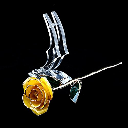 ZJchao Gifts for Women, Long Stem Dipped 24k Gold Trim Red Rose in Gold Gift Box with Stand Best Gift for Valentines/Mothers/Anniversary/Birthday/Galentine's Day(Yellow Rose with Stand) by ZJchao (Image #7)'
