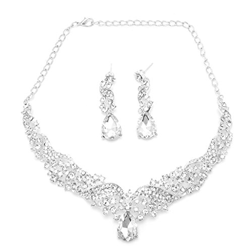 cici store Women Wedding Party Bridal Crystal Rhinestone Necklace Earring Jewelry Set (Chinese Crystal Necklace)