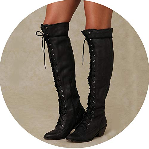 (The memory is really bad Long Tube Women Boots Thigh High Boots Sewing Thread Rivet High Heel Long Boots Zipper,Black,38)