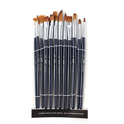 12pcs/set 17.5 cm high-grade nylon paintbrush acrylic paints pen water color brush artists Gouache - Japanese Pics Nylon