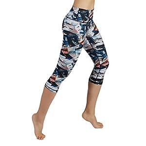 ODODOS Power Flex Women's Tummy Control Workout Running Printed Capris Yoga Capris Pants With Hidden Pocket,FineArt, Medium
