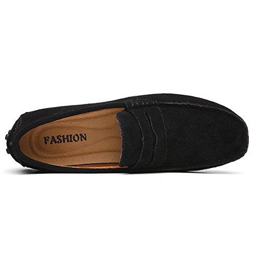 Los Conducción De Mocasines on Hombres Del Negro Premium Yaer Barco Planos Gamuza Slip Mocasín Zapatos tqwpEn5
