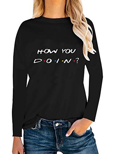 Friends TV Show T Shirt Teen Girl Women Long Sleeve Graphic Tee Tops How You Doin Funny Shirts -