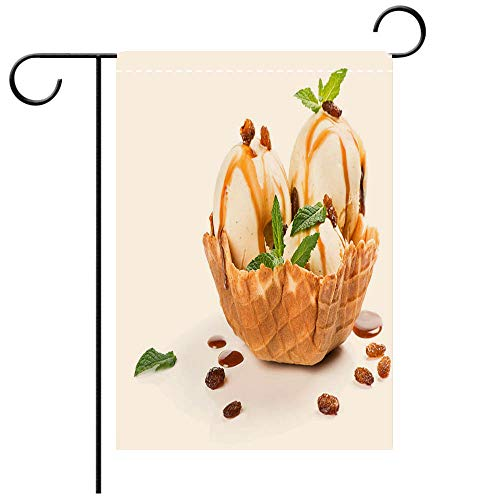 - BEICICI Artistically Designed Yard Flags, Double Sided Wafer Basket with Vanilla ice Cream Best for Party Yard and Home Outdoor Decor