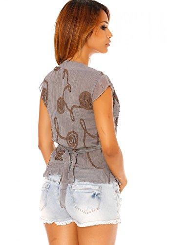 dmarkevous - Camiseta de manga larga - para mujer gris