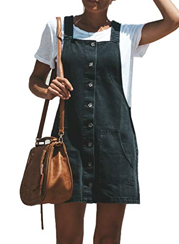 Sidefeel Women Vintage Denim Button Down Jumper Jeans Overall Dress Small Black
