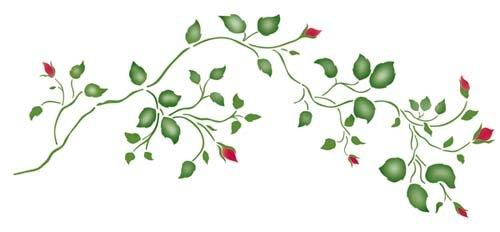 Designer Stencils Small Rosebud Vine Wall Stencil SKU #3487 by