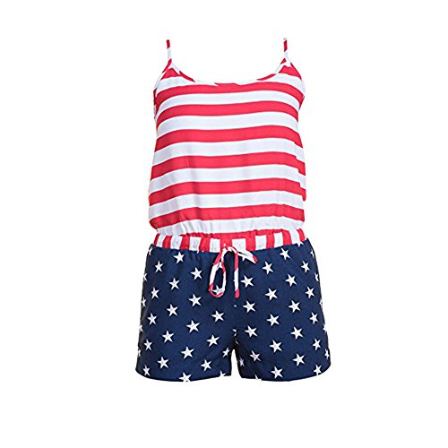 (LiLiMeng 2019 New Women Casual Strap Patriotic Printed American Flag Striped Drawstring Pockets Romper Lace-Up Playsuit White)