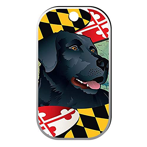 BSARRE Custom ID Pet Tag Double Sided Stainless Steel Square Necklaces Dog Tag Pendant Black -