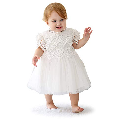 Slowera Baby Girls White Lace Dress Christening Baptism Gowns (Style4, 0-6 Months)