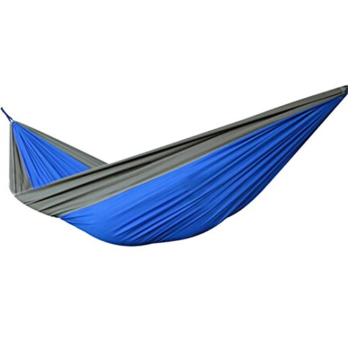 Hammock,HLHyperLink Camping Hammock Travel Portable Parachute Nylon Fabric For Outdoor Travel Double Nest Hammock Stand Straps(Blue Gray)