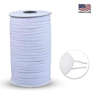"Elastic Bands for Sewing, White 100 Yard 1/4"" Width Elastic Cord for Sewing and Crafting Elastic for Sewing Crafts DIY, Bedspread, Cuff"