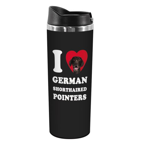 Tree-Free Greetings TT42057 I Heart German Shorthaired Pointers 18-8 Double Wall Stainless Artful Tumbler, 14-Ounce, Brown and White