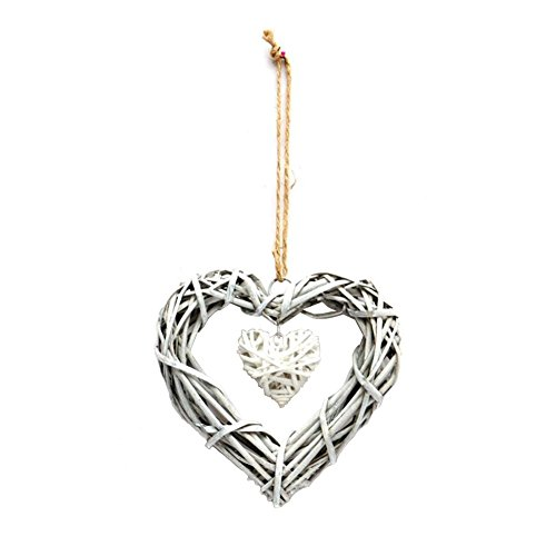 (win-full Rattan Grapevine Twig Heart-shaped Craftwork Decoration Wall Hanging 2 PACK)