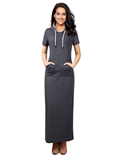 GloryStar Women Long Sleeve Pullover Pocket Slim Sweatshirt Casual Hoodie Dress Hooded Sweater Dresses (L, Dark (Hooded Sweater Dress)