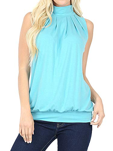 (The Lovely Women Sleeveless Mock-Turtleneck Pleated Top with Waistband (Ash Mint, L) )