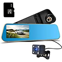 Trainshow Dual-lens Dashboard Camera, Car Dash Cam, Car DVR Camera, Night Version Full HD 1080P with 4.3 inch LCD Screen, Rearview Mirror Design Car Recorder(with 16G TF card included)