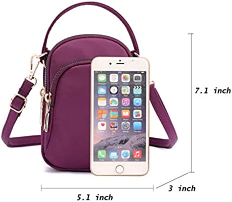 Yogwoo Women Small Bags Crossbody Pockets Cell Phone Purse 3 Zipper Pockets Waterproof Nylon Cycling Travel Hiking Outdoor /…
