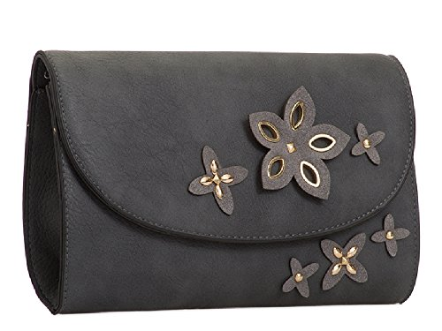 Bag Black Bridal Leather Purse KT2078 Women's Handbag Clutch Party Flower Ladies Faux Floral qZgwqI7