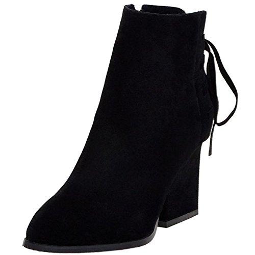 Winter Shoes Classical Boots Block TAOFFEN Short Heels Women Black 0qZ5I