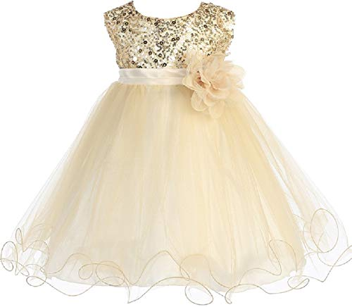 Little Baby Girls Sleeveless Sequin Glitter Little Baby Infant Toddler Flower Girl Dress Gold XL (K31D5) -