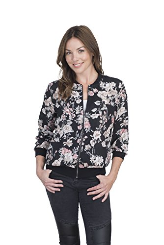 Como Vintage Women's Zipped Lightweight Bomber Jacket Top (Solid or Printed) (Extra Large, Black/Pink/Neutral Floral)