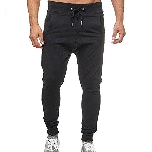 Seaintheson Men's Gym Fitness Pant,Summer High Waist Drawstring Elastic Waist Sweatpants Youth Casual Jogging Track Pants Black