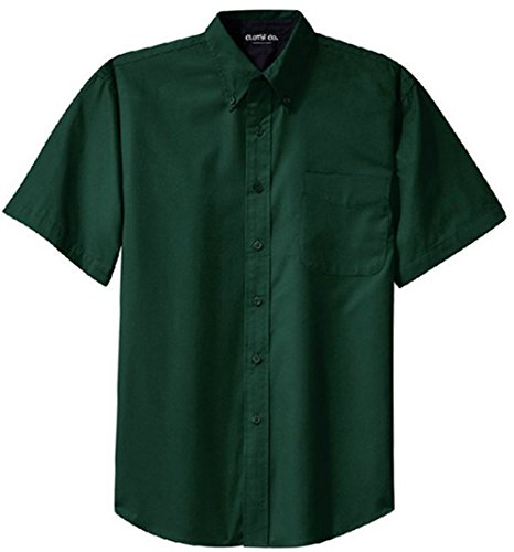 - Clothe Co. Mens Short Sleeve Wrinkle Resistant Easy Care Button Up Shirt, Dark Green/Navy, XL