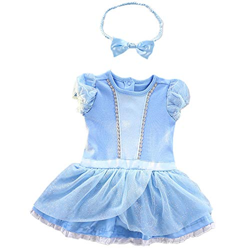 Tsyllyp Baby Girl Cinderella Bodysuit Princess Outfit Toddler Birthday Party Costume Halloween Fancy Romper Dress up w/Headband -