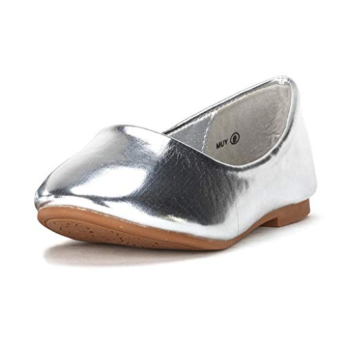 DREAM PAIRS Little Kid Muy Silver Pu Girl's Mary Jane Ballerina Flat Shoes - 13 M US Little Kid Brown Kid Suede Pumps