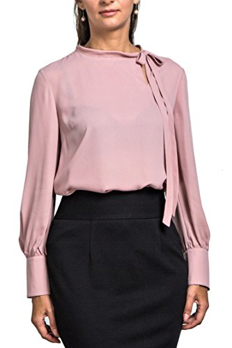 Everyday Womens Princess Cuff Long Sleeve Chiffon Blouse, Narrow Tie Neck, Wear to Work, Blush-L (US 8)