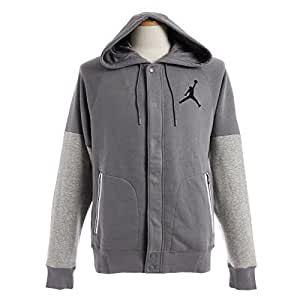 Nike Mens Jordan Varsity Hooded Sweatshirt Cool Grey/Dark Grey/Black 689020-065 Size 2X-Large