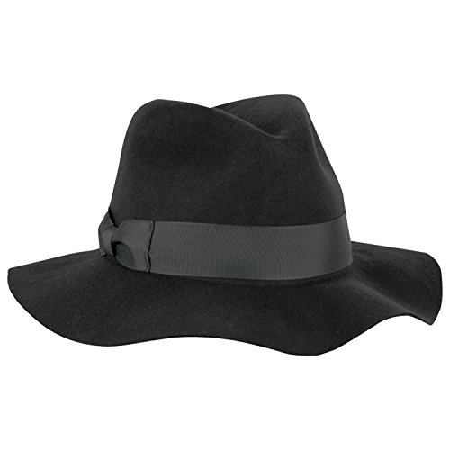 Tilley Womens Wool Floppy Brim Fedora Hat, Large 7 3/8 - 7 1/2, Black by Tilley