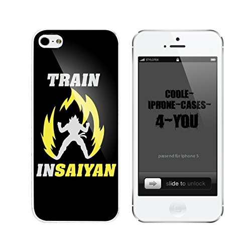 Iphone 5 / 5S Schutzhülle Train Insaiyan Yellow Fire - weisser Rahmen