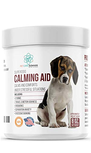 PET CARE Sciences Calming Treats for Dogs, Separation, Travel, Excessive Barking, Stress, Dog Anxiety Relief]()