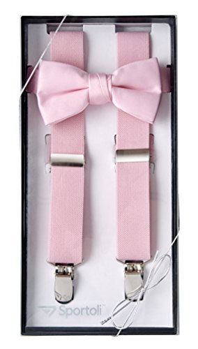Sportoli8482; Kids and Baby Elastic Adjustable Solid Suspender and Bow Tie Gift Set - Pink (22 Inch)