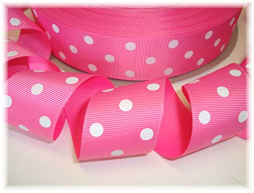 (Ribbon Art Craft Perfect Solution for Any Project Decoration 1 Yard 1.5 Princess Polka DOTS Sherbert Pink White DOT Grosgrain Ribbon 4 HAIRBOW Bow)