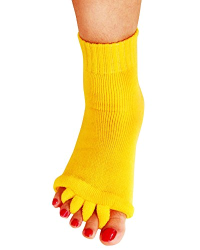 Yoga Sports GYM Five Toe Separator Socks Alignment Pain Health Massage Socks, Prevent Foot Cramps, One Pair,Yellow For Sale