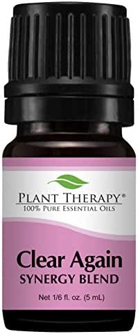 Plant Therapy Clear Again (Allergy Aid) Synergy Essential Oil Blend. Blend of: Lavender, German Chamomile, Roman Chamomile, Helichrysum and Niaouli. 5 mL (1/6 Ounce).