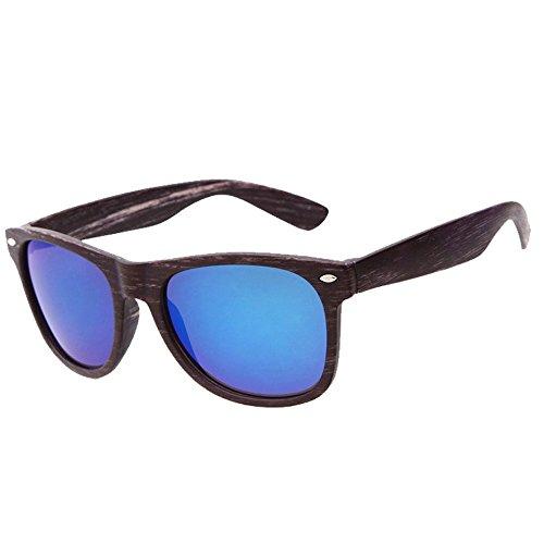 de gafas sol imitación gafas C de Mirrored Gafas Cuadrado Cool Round madera wear to Vintage sol al de de deporte de Hombres aire Mujeres libre SKY z7HPwq