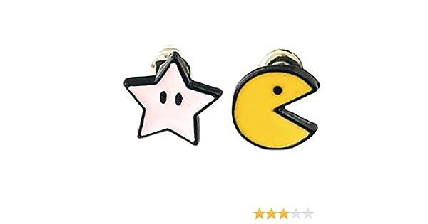 Pacman y rosa Star de Pacman Stud Pendientes con caja de regalo de ...