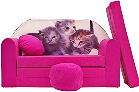 PRO COSMO H6 Bambini Divano Letto futon con Pouf/poggiapiedi/Cuscino,  Tessuto, Rosa, 168 x 98 x 60 cm