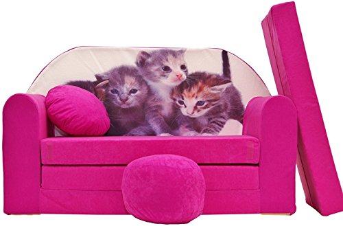 PRO COSMO H6Bambini Divano Letto futon con Pouf/poggiapiedi/Cuscino, Tessuto, Rosa, 168x 98x 60cm 5900829000623