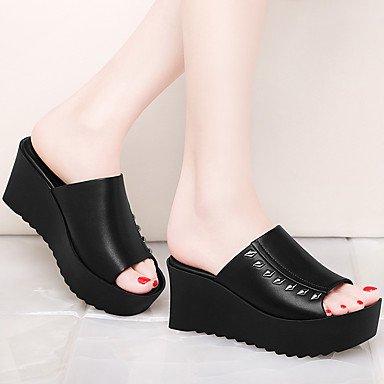 LvYuan sandalias de las mujeres de primavera y verano otra oficina sintética&vestido de la carrera tacón grueso ocasional negro blanco White