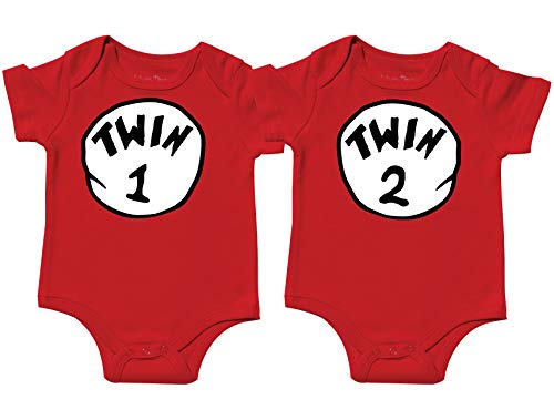 Nursery Decals and More Gender Neutral Bodysuits for Twins, Includes 2 Bodysuits, 3-6 Month Twin 1 Twin 2 -