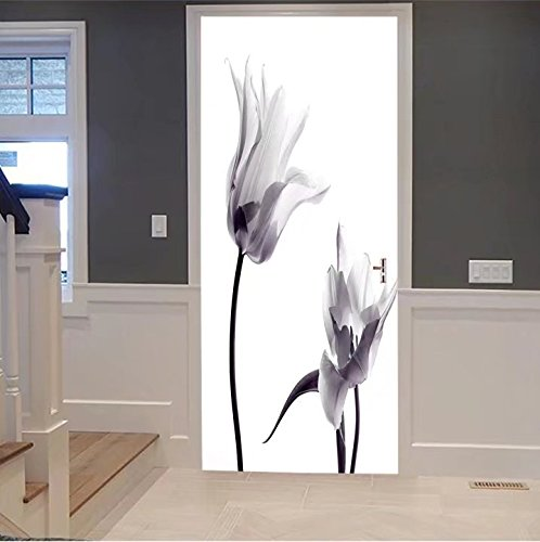 iprint 3d Door Wall Mural Wallpaper Stickers-two transparent tulips in back light on white For Room Decor 30x79
