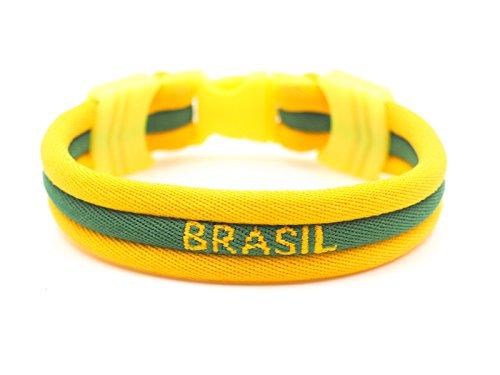 BRASIL - Brazil Flag Bracelet - Vivid Colors - 3 Sizes Available (Brazil, Small) (Brazilian Jersey)