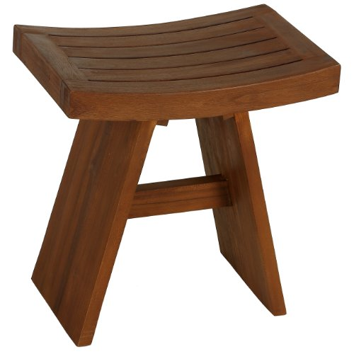 Bare Decor Casual BARE-AC2016 Sofi Shower Stool in Solid Teak Wood, 18 x 12 x 18'', Brown by Bare Decor