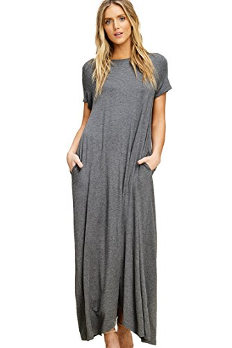 Annabelle Women's Plus Size Short Sleeve Round Neck Uneven Hem Full Length Dresss with Pockets Mid Grey X-Large D5418P